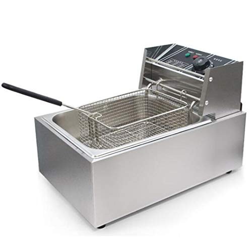 JSHFD Freidora Tanque Simple/Doble Freidora Profunda Control de Temperatura Tazón de Aceite Desmontable con Canasta Restaurante Comercial Encimera Cocina Familiar (Color : Silver, Size : A)
