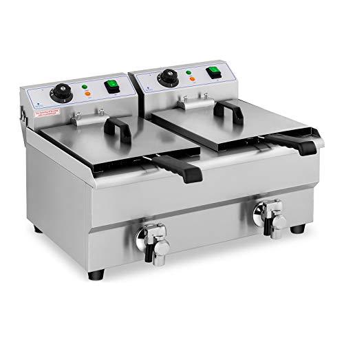 Royal Catering Freidora Eléctrica Doble Para Hostelería 2 x 10 Litros 230 V RCEF 10DB (2 x 3.000 W, Grifos De Vaciado, Temperatura: 50-200 °C)